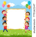 happy smiling group of kids... | Shutterstock .eps vector #775162147