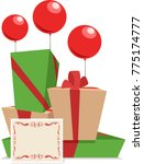 gift boxes and balloons | Shutterstock .eps vector #775174777