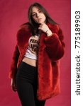 female in coat and fur on pink... | Shutterstock . vector #775189903