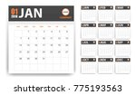 2018 calendar in paper stickers ... | Shutterstock . vector #775193563