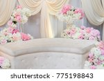 Small photo of beautiful and creative Malay wedding dais, flowers and decorations.