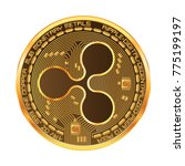 crypto currency golden coin... | Shutterstock .eps vector #775199197