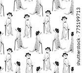 seamless pattern   gentleman... | Shutterstock .eps vector #775199713