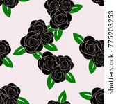 black rose with leaves on pale... | Shutterstock .eps vector #775203253