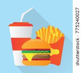 fast food.burger fries cola | Shutterstock .eps vector #775240027