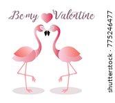flamingo making a heart shape.... | Shutterstock .eps vector #775246477