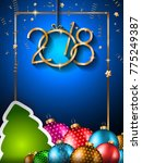 2018 happy new year background... | Shutterstock .eps vector #775249387