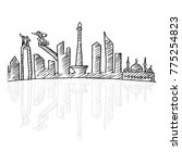 sketchy of jakarta skyline. | Shutterstock .eps vector #775254823