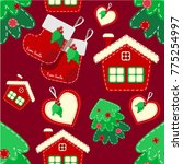 pattern with christmas... | Shutterstock .eps vector #775254997