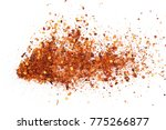 pile crushed red cayenne pepper ... | Shutterstock . vector #775266877