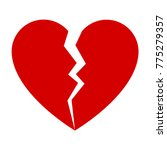 Red Broken Heart. Flat Icon Fo...