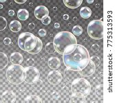pure clear water drops. set of... | Shutterstock . vector #775313593