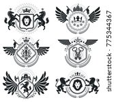 heraldic coat of arms  vintage... | Shutterstock .eps vector #775344367