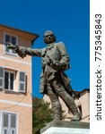 Small photo of Corsica, 31/08/2017: the bronze statue of Jean-Pierre Gaffory (1704-1753), a doctor and a general, Corsican patriot, made by Adelbert in 1901, in the center of Corte, village of the Haute Corse