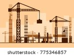 building work process with... | Shutterstock .eps vector #775346857