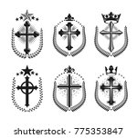christian crosses emblems set.... | Shutterstock .eps vector #775353847