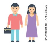 husband and wife standing side ... | Shutterstock .eps vector #775365127