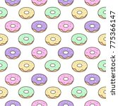 cute pattern with donuts on a... | Shutterstock .eps vector #775366147