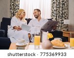 smiling mature couple in... | Shutterstock . vector #775369933