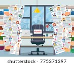 hands holds resume  workplace ... | Shutterstock .eps vector #775371397
