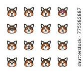 cute corgi dog emoticon | Shutterstock .eps vector #775382887