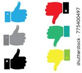 set thumb up and thumb down ... | Shutterstock .eps vector #775400497