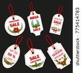 christmas sale paper tag banner ... | Shutterstock .eps vector #775414783