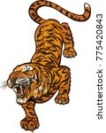 tiger jump tattoo | Shutterstock .eps vector #775420843