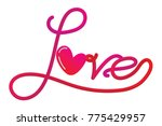 decorative love text with heart.... | Shutterstock .eps vector #775429957