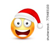 christmas hat and smiley | Shutterstock .eps vector #775485103
