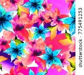 flower frame  watercolor... | Shutterstock . vector #775491253