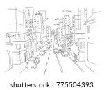 city street linear perspective... | Shutterstock .eps vector #775504393