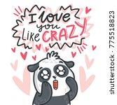 cute panda bear madly in love...   Shutterstock .eps vector #775518823