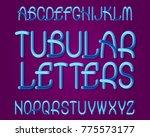 tubular letters typeface.... | Shutterstock .eps vector #775573177
