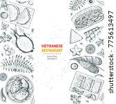 vietnamese food poster. a set... | Shutterstock .eps vector #775613497