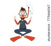scuba diver illustration ... | Shutterstock . vector #775666567