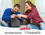young pregnant woman is... | Shutterstock . vector #775666603