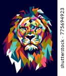 colorfully lion. lion logo.... | Shutterstock .eps vector #775694923