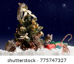 christmas card  four mouse...   Shutterstock . vector #775747327