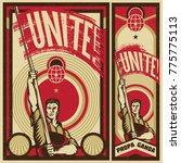 poster revolution. propaganda... | Shutterstock .eps vector #775775113