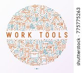 work tools concept in circle... | Shutterstock .eps vector #775775263