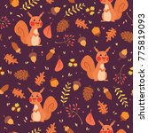 cute autumn seamless pattern... | Shutterstock . vector #775819093