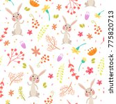 cute autumn seamless pattern.... | Shutterstock . vector #775820713