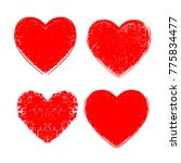 set of hearts . grunge stamps... | Shutterstock .eps vector #775834477