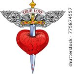 heart with wing and dagger | Shutterstock .eps vector #775874557