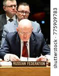 Small photo of NEW YORK CITY - DECEMBER 15 2017: The United Nations Security Council met in special session to debate alleged North Korean Nuclear proliferation. Russian Federation representative Vasily Nebenzia