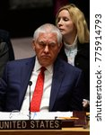 Small photo of NEW YORK CITY - DECEMBER 15 2017: The United Nations Security Council met in special session to debate alleged North Korean Nuclear proliferation. US Secretary of State Rex Tillerson