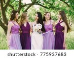 emotional bride and bridesmaids ... | Shutterstock . vector #775937683