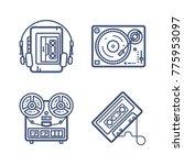 retro wave icon set | Shutterstock .eps vector #775953097