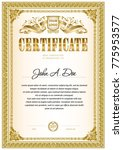 certificate template with... | Shutterstock .eps vector #775953577